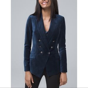 WHBM Petite velvet trophy jacket in River Teal 8
